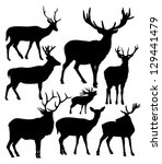 silhouettes of the deer | Shutterstock .eps vector #129441479