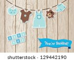 baby boy shower card | Shutterstock .eps vector #129442190