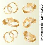 gold wedding rings vector... | Shutterstock .eps vector #129442520