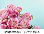 pink peony flowers   Shutterstock . vector #129445016