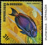 Small photo of REPUBLIC OF BURUNDI - CIRCA 1975: A stamp printed by Burundi shows the fish Acanthurus bahianus, circa 1975