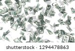 hundred dollar banknotes fall on graund on white background