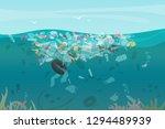 plastic pollution trash... | Shutterstock .eps vector #1294489939