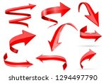 red 3d shiny arrows. set of... | Shutterstock .eps vector #1294497790