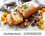 traditional homemade stollen...   Shutterstock . vector #1294500220