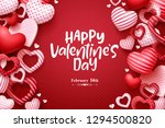 Stock vector valentines day vector greeting card happy valentines day text with hearts elements in red pattern 1294500820