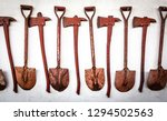 The Old Set Of Tools Shovel An...