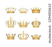 set of gold crowns. | Shutterstock . vector #1294503613