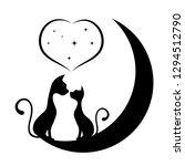 romantic meeting of cats ... | Shutterstock . vector #1294512790