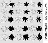 set of maple leaves silhouettes ... | Shutterstock .eps vector #1294519696