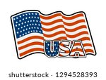 us flag colored badge  icon. | Shutterstock . vector #1294528393