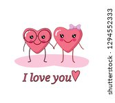kawaii couple. cute heart... | Shutterstock .eps vector #1294552333