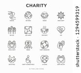 charity thin line icons set ... | Shutterstock .eps vector #1294599319