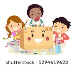 illustration of stickman kids... | Shutterstock .eps vector #1294619623