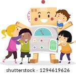 illustration of stickman kids... | Shutterstock .eps vector #1294619626