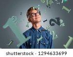 teenager stands in the rain of... | Shutterstock . vector #1294633699