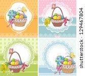 set easter vintage cards with... | Shutterstock .eps vector #129467804