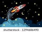 rocket flying in space among...   Shutterstock .eps vector #1294686490