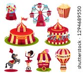 flat vector set of circus icons....   Shutterstock .eps vector #1294689550
