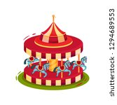 bright red merry go round with... | Shutterstock .eps vector #1294689553
