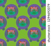 hippo animal multicolor...