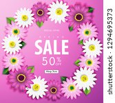 spring sale off background with ... | Shutterstock .eps vector #1294695373