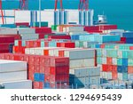 stack of containers box  cargo... | Shutterstock . vector #1294695439