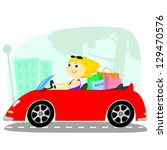 blonde rides on a red cabriolet ... | Shutterstock .eps vector #129470576