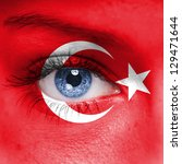 Turkey Flag On Woman Face