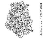 hand drawn floral doodle. ... | Shutterstock .eps vector #1294719373