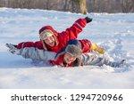 two funny boys in winter... | Shutterstock . vector #1294720966