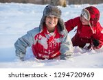 two smiling boys with funny... | Shutterstock . vector #1294720969