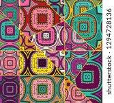 vector patchwork quilt pattern. ... | Shutterstock .eps vector #1294728136