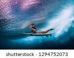 surfer woman with surfboard... | Shutterstock . vector #1294752073