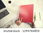 woman hand document with...   Shutterstock . vector #1294764853