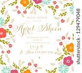 Stock vector bridal shower invitation card 129479048