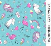 unicorn  llama and flamingo...   Shutterstock .eps vector #1294796929