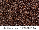 roasted coffee beans background. | Shutterstock . vector #1294805116