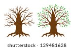 tree with and without leaves.... | Shutterstock .eps vector #129481628