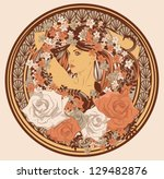 art nouveau styled woman with... | Shutterstock .eps vector #129482876