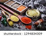 spices and seasonings on the... | Shutterstock . vector #1294834309
