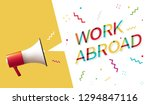 "megaphone with ""work abroad""... 