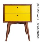 Small photo of Yellow wood bedside table. Modern designer nightstand isolated on white background front view. cabinet with two drawers