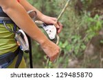 female belayer with the rope... | Shutterstock . vector #129485870