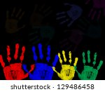 colorful hand prints isolated... | Shutterstock .eps vector #129486458