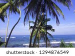 sunny day on ocean beach with... | Shutterstock . vector #1294876549