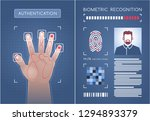 biometric authentication. two... | Shutterstock .eps vector #1294893379