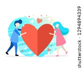 big red heart on the background.... | Shutterstock .eps vector #1294894339