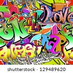 graffiti wall. urban art vector ... | Shutterstock .eps vector #129489620