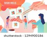 tiny men cook rolls  japanese... | Shutterstock .eps vector #1294900186